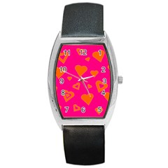 Hot Pink And Orange Hearts By Khoncepts Com Tonneau Leather Watch by Khoncepts