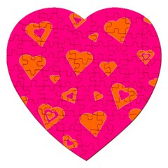 Hot Pink And Orange Hearts By Khoncepts Com Jigsaw Puzzle (Heart) by Khoncepts