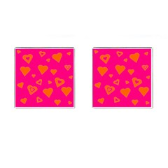 Hot Pink And Orange Hearts By Khoncepts Com Cufflinks (square) by Khoncepts