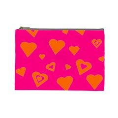 Hot Pink And Orange Hearts By Khoncepts Com Cosmetic Bag (large) by Khoncepts