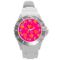 Hot Pink And Orange Hearts By Khoncepts Com Plastic Sport Watch (large) by Khoncepts