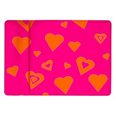 Hot Pink And Orange Hearts By Khoncepts Com Samsung Galaxy Tab 10 1  P7500 Flip Case by Khoncepts