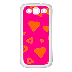 Hot Pink And Orange Hearts By Khoncepts Com Samsung Galaxy S3 Back Case (white) by Khoncepts