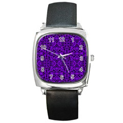 Black And Purple String Art Square Metal Watch by Khoncepts