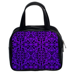 Black And Purple String Art Classic Handbag (two Sides) by Khoncepts