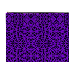 Black And Purple String Art Cosmetic Bag (xl) by Khoncepts