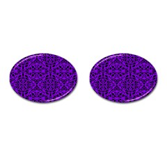 Black And Purple String Art Cufflinks (oval) by Khoncepts