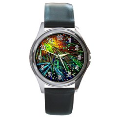 Exploding Fireworks Round Leather Watch (silver Rim) by StuffOrSomething