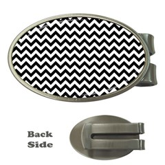 Black And White Zigzag Money Clip (oval) by Zandiepants