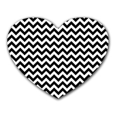 Black And White Zigzag Mouse Pad (heart) by Zandiepants