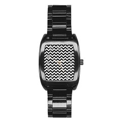 Black And White Zigzag Stainless Steel Barrel Watch by Zandiepants