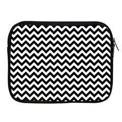 Black And White Zigzag Apple Ipad Zippered Sleeve by Zandiepants