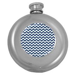 Dark Blue And White Zigzag Hip Flask (round) by Zandiepants