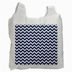 Dark Blue And White Zigzag White Reusable Bag (two Sides) by Zandiepants