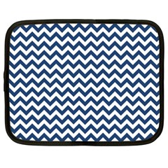 Dark Blue And White Zigzag Netbook Sleeve (XXL) by Zandiepants