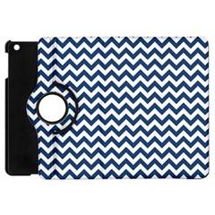 Dark Blue And White Zigzag Apple Ipad Mini Flip 360 Case by Zandiepants