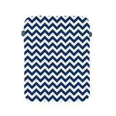 Dark Blue And White Zigzag Apple Ipad Protective Sleeve by Zandiepants