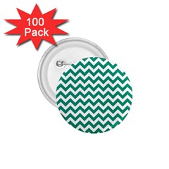 Emerald Green And White Zigzag 1 75  Button (100 Pack) by Zandiepants