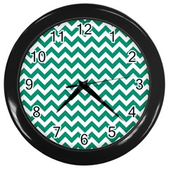 Emerald Green And White Zigzag Wall Clock (black) by Zandiepants