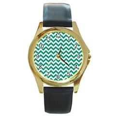 Emerald Green And White Zigzag Round Leather Watch (Gold Rim)  by Zandiepants