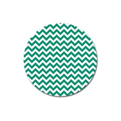 Emerald Green And White Zigzag Magnet 3  (round) by Zandiepants