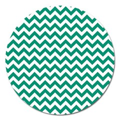 Emerald Green And White Zigzag Magnet 5  (round) by Zandiepants