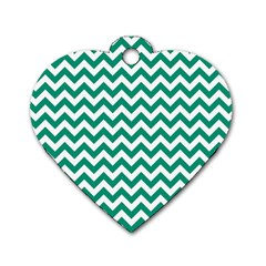 Emerald Green And White Zigzag Dog Tag Heart (two Sided) by Zandiepants