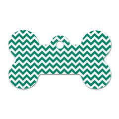 Emerald Green And White Zigzag Dog Tag Bone (one Sided) by Zandiepants