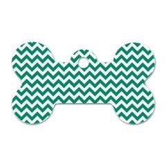 Emerald Green And White Zigzag Dog Tag Bone (two Sided) by Zandiepants