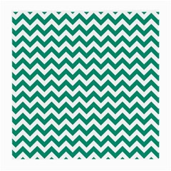 Emerald Green And White Zigzag Glasses Cloth (medium, Two Sided) by Zandiepants