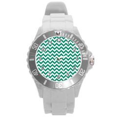 Emerald Green And White Zigzag Plastic Sport Watch (large) by Zandiepants