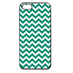 Emerald Green And White Zigzag Apple Iphone 5 Seamless Case (black) by Zandiepants