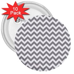 Grey And White Zigzag 3  Button (10 Pack) by Zandiepants