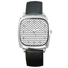 Grey And White Zigzag Square Leather Watch