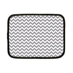 Grey And White Zigzag Netbook Sleeve (small) by Zandiepants