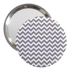Grey And White Zigzag 3  Handbag Mirror by Zandiepants