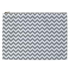 Grey And White Zigzag Cosmetic Bag (xxl) by Zandiepants
