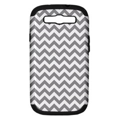 Grey And White Zigzag Samsung Galaxy S Iii Hardshell Case (pc+silicone) by Zandiepants