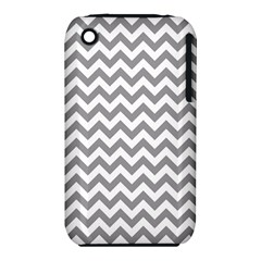 Grey And White Zigzag Apple Iphone 3g/3gs Hardshell Case (pc+silicone) by Zandiepants