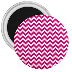 Hot Pink And White Zigzag 3  Button Magnet by Zandiepants