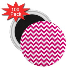 Hot Pink And White Zigzag 2 25  Button Magnet (100 Pack) by Zandiepants