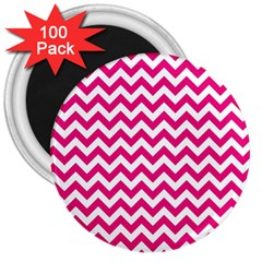 Hot Pink And White Zigzag 3  Button Magnet (100 Pack) by Zandiepants