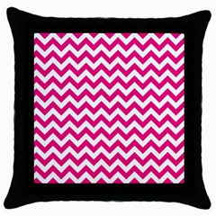 Hot Pink And White Zigzag Black Throw Pillow Case by Zandiepants