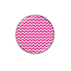 Hot Pink And White Zigzag Golf Ball Marker 4 Pack (for Hat Clip) by Zandiepants