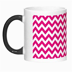 Hot Pink And White Zigzag Morph Mug