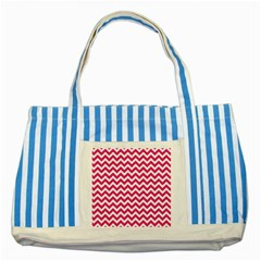 Hot Pink And White Zigzag Blue Striped Tote Bag by Zandiepants