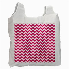 Hot Pink And White Zigzag White Reusable Bag (one Side) by Zandiepants
