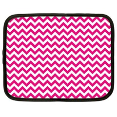 Hot Pink And White Zigzag Netbook Sleeve (xxl) by Zandiepants