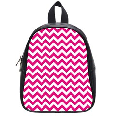 Hot Pink And White Zigzag School Bag (small) by Zandiepants
