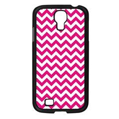 Hot Pink And White Zigzag Samsung Galaxy S4 I9500/ I9505 Case (black) by Zandiepants